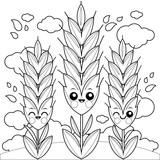 Field with wheat characters. Coloring book page - 182433317