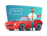 Happy businessman standing near the sport car. Man winner and his sports car. Vector illustration