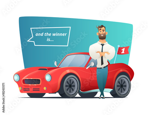 Fotobehang Auto Happy businessman standing near the sport car. Man winner and his sports car. Vector illustration