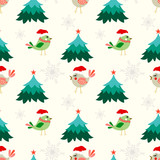 Christmas seamless pattern with cute birds, tree and snow