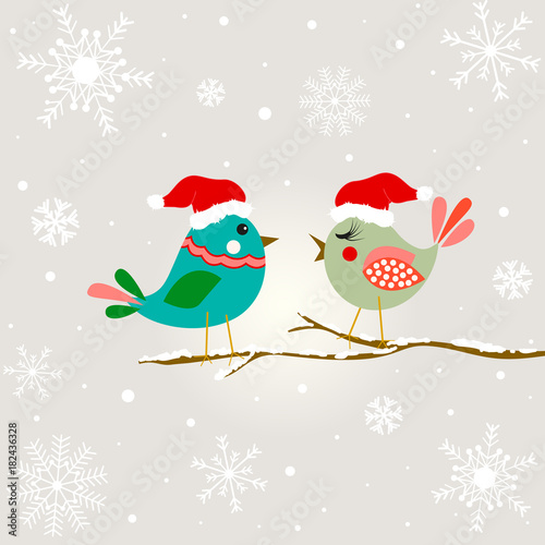 Christmas tree with birds. Happy new year card design..