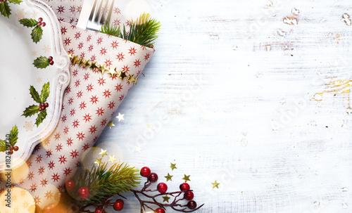 Fototapeta Christmas holidays ornament flat lay; Christmas card background