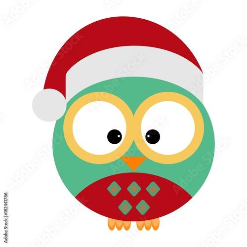 Deurstickers Uilen cartoon Owl in a santa's red hat
