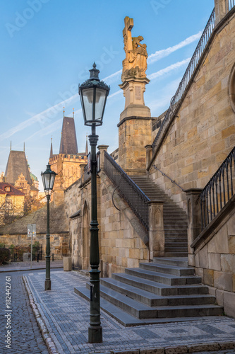 Staircase to Kampa island in Prague's Old Town, Czech republic Poster