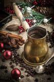 Turkish coffee in copper coffe pot - 182442933