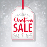 Christmas Sale Tag Label on Gray Background - Vector - 182443176