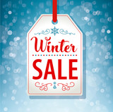 Winter Sale Tag Label on Blue Background - Vector - 182444749