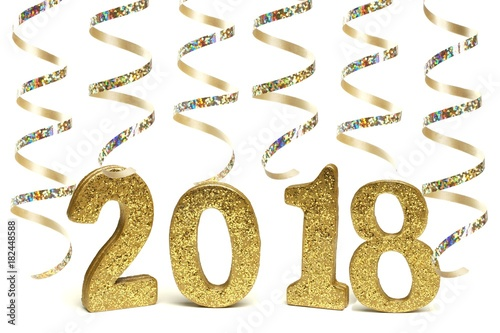 New Years Eve 2018 golden numbers with shiny streamers isolated on white