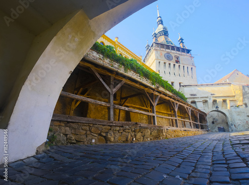 Illustration of Clock tower is architecture landmark of Sighisoara