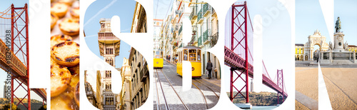 Lisbon letters filled with pictures of famous places and traditional portuguese food in Lisbon city, Portugal - 182449938