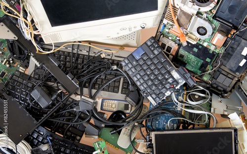 Old computer and electronic waste. Recycling concept