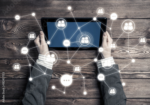 Concept of social communication and networking with social conne