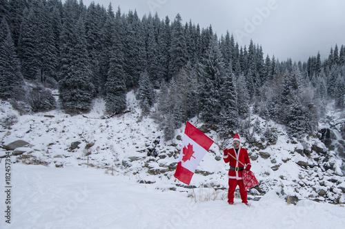 Keuken foto achterwand Canada santa claus with canadian flag