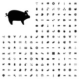 Pig icon illustration . agriculture icons set for web and mobile. - 182457745