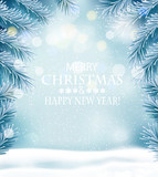 Holiday Christmas background with a snowflakes and branches of tree. Vector.