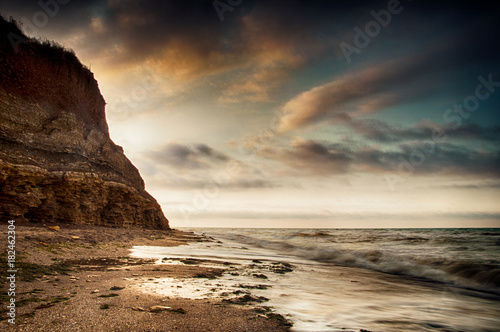 Staande foto Ochtendgloren Sea coast Sunrise in Chabanka Odesa Ukraine