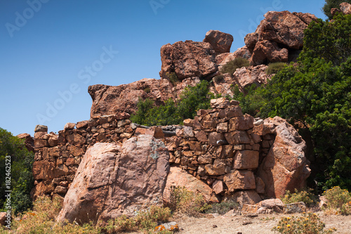Stone ruins in mountains. Corsica landscape