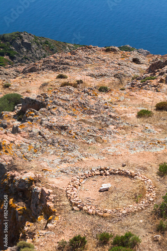 Landscape of Corsica with round stone ruins