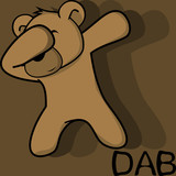 dab dabbing pose teddy bear kid cartoon in vector format very easy to edit