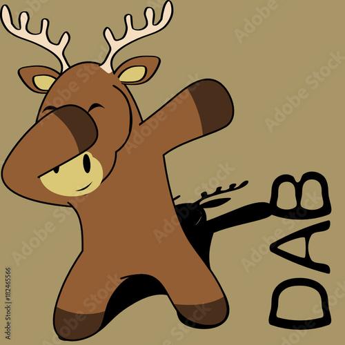 Fototapeta dab dabbing pose deer kid cartoon in vector format very easy to edit