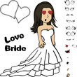 beauty young bride cartoon expressions set in vector format  - 182466794