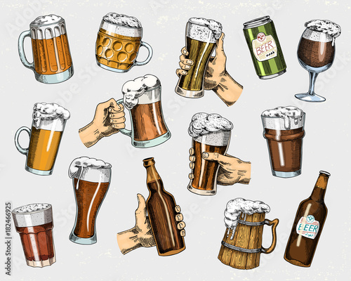 Fototapeta Beer glass, mug or bottle of oktoberfest. engraved in ink hand drawn in old sketch and vintage style for web, invitation to party or pub menu. design element isolated on white background.