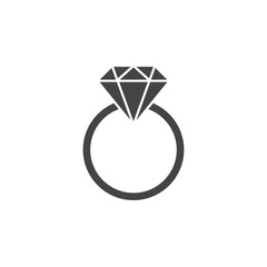 Ring with gemstone silhouette, icon