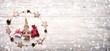 Leinwandbild Motiv Merry Christmas and Happy New Year   -  Greeting card  -  Christmas Background  -  Natural decoration on rustic wood  -  Banner, Panorama