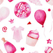 Watercolor baby shower pattern. Pink baloons, baby bottle and cake. For design, print or background
