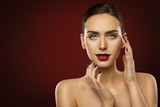 Woman Beauty Makeup, Fashion Model Dark Red Lipstick and Nails, Girl Face over Red background