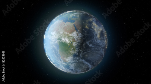 Fotobehang Nasa The rotation of earth from space 3d illustration