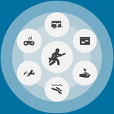 Set Of 7 Hobbie Icons Set.Collection Of Caravan, Plant, Frogman And Other Elements. - 182477932
