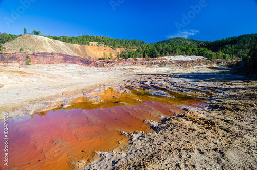 Foto op Aluminium Rio de Janeiro Red puddle in Tinto River in Huelva, Spain. The river has been mined for copper, silver, gold, and other minerals turning its water into red bright colors