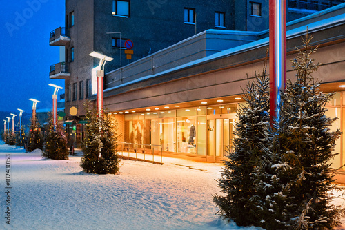 Christmas trees on Lordi Square in winter Rovaniemi