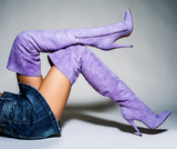 Part of women legs in beautiful fashionable batford high heels. - 182480372