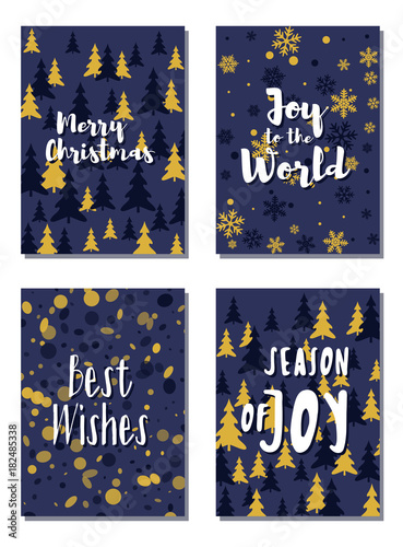 Christmas cards vector collection with lettering and modern background patterns graphic design. Colorful winter holidays greeting cards set, xmas banner templates, Christmas postcards collection.