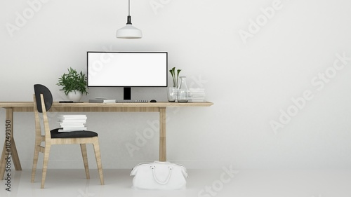 Relax space furniture 3d rendering and background white decoration minimal - in hotel