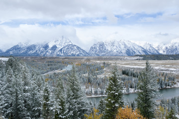 Snake river overlook with snow, Grand Teton National Park