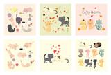 cute cat vector set
