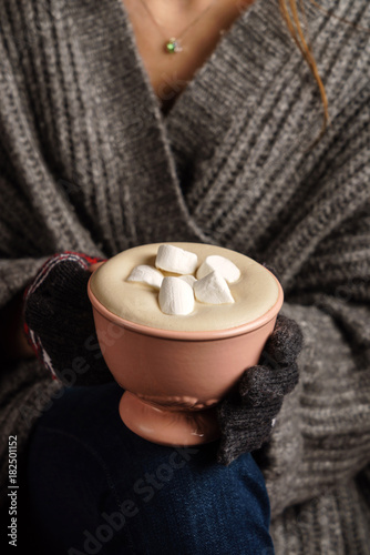 Tuinposter Chocolade cocoa with marshmallow