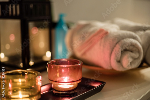 spa room with candles