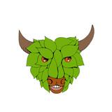 Green Bull Head Drawing