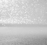 silver and white abstract glitter background with bokeh defocused lights christmas - 182503139