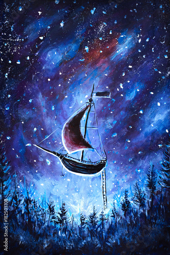 Original oil painting Flying an old pirate ship. Beautiful Sea ship is flying above starry sky - abstract fairy tale, dream. Peter Pan. Illustration. Postcard painting. - 182503108