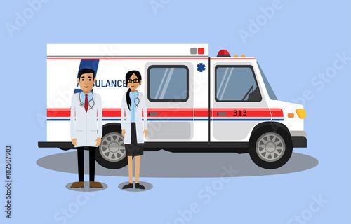 Fotobehang Auto Doctors next to the ambulance. Vector illustration.