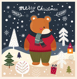 Christmas illustration with cute bear and winter landscape - 182510125