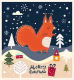 Christmas illustration with cute squirrel and winter landscape - 182510141