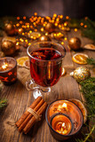 Hot Christmas mulled wine - 182511372