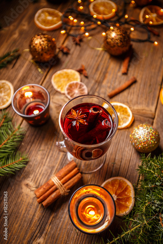Glass with hot red wine