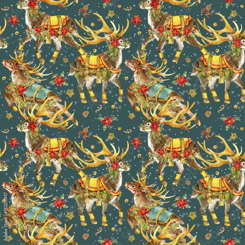 Foto op Plexiglas Graffiti Christmas seamless pattern. Reindeer vintage background.